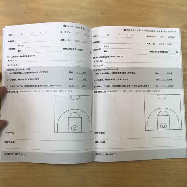 バスケットボールノート勝ちノート(練習記録ページ)